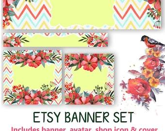 Floral Etsy Banner Set - DIY Banner Graphic - Avatar, Icon, Cover & Banner - DIY Blank Banner