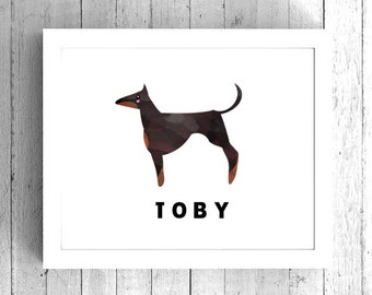 Custom Doberman Art Print - Doberman Dog Artwork, Doberman digital print, Printable Dog Art Print, Custom dog name print