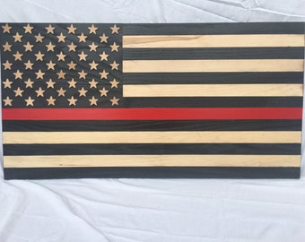 Firefighter thin red line charred American Flag