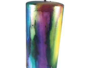 Hand painted candle, pillar candle, alcohol ink, decorative candle, colorful candle