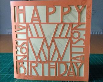 Personalised Happy Birthday Paper Cut Greetings Card  |  Art Deco  |  Bespoke Card  |  18th 21st 30th 40th 50th 60th 70th 80th 90th 100th