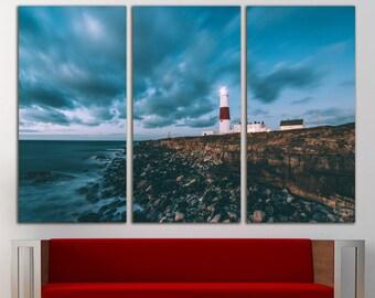 Lighthouse Lands End Coast Wall Art Large Canvas Print Decor