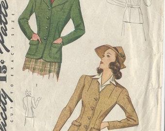 "1940s Vintage Sewing Pattern B34"" JACKET (R138) Simplicity 4187"