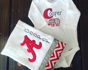 custom onesie and burp cloth