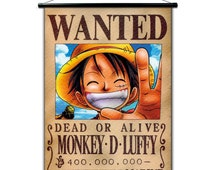 Poster anime, wall scroll anime One piece Wanted, wall decor japaneses Paints, fabric Picture of wall, japan cartoon, bedroom anime