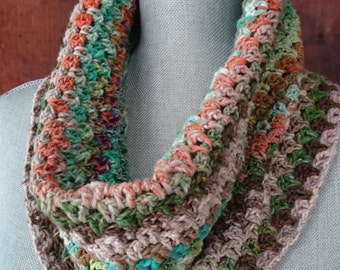 Crochet Cowl Scarf, Kibou Yarn (Wool-Cotton-Silk Blend) Multicolored Yarn