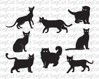 Cats svg, Kitten SVG, Silhouettes, Animals Silhouettes, Silhouette files, SVG files, png jpg eps, instant download