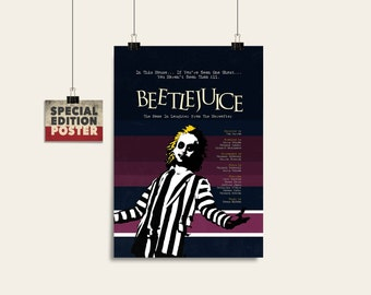 Beetlejuice, Tim Burton movie, Tim Burton poster, Movie art, Film print, Wall art print, Instant download, Digital download, Wall decor