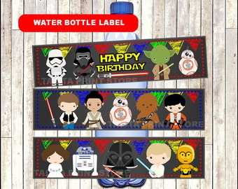 Star Wars Chalkboard Water bottle labels, printable Star Wars water labels, Chalkboard Star Wars water Bottle- Instant download