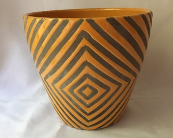 Orange and Gray Pottery Plant Pot with Cool Diagonal Design