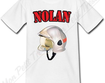 T-shirt child helmet firefighter personalized with the name of your choice