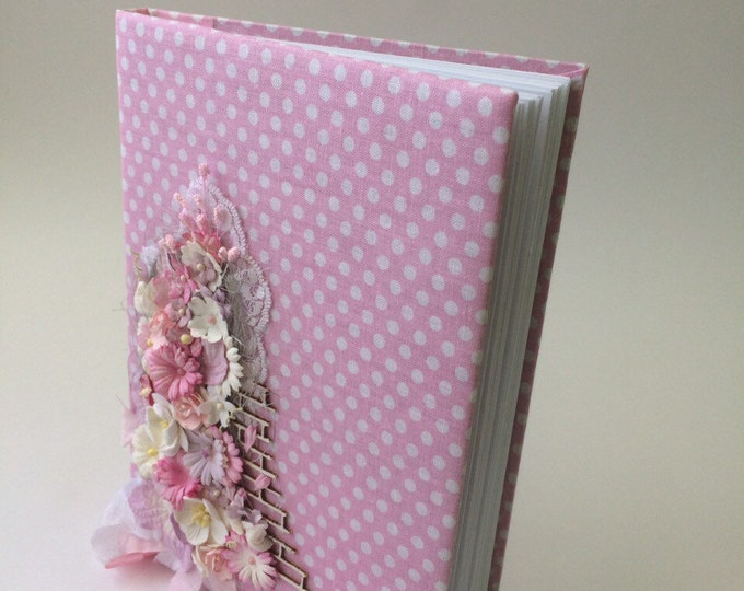 Personalized cotton notebook cloth for girls, ladies and women notepad with flowers pink coptic binding technology diary gift for her