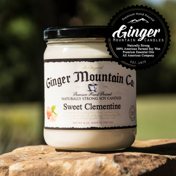 """Sweet Clementine Scented Candle """"Free Shipping"""" Large 16oz """"Strong Highly Scented"""" Double Wicked, Soy, Super Strong, Best Scented candle"""