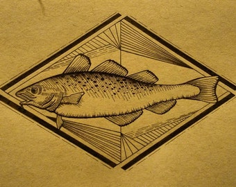 In Cod We Trust, Cod Drawing, Fish Drawing, Handmade Art, Ink Drawing