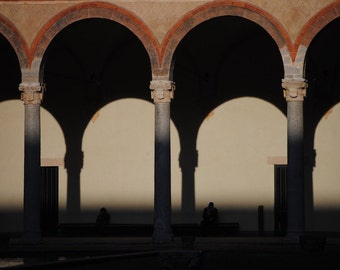 Travel Poster Print - Italian Castle Photograph Atmospheric Architectural Travel Photograph