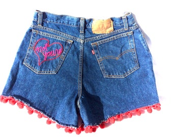 "The ""Not Yours"" Hand Embroidered Denim Shorts"