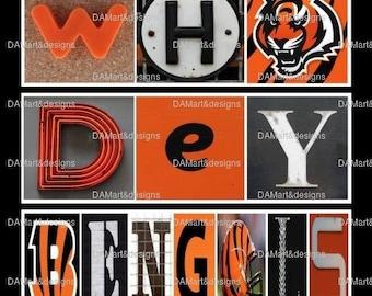 Cincinnati Bengals Framed Alphabet Photo Art