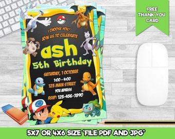 Pokemon Birthday Invitation. Invitations. Pokemon Invitation. Pokemon Birthday Party. Pokemon Party. DIY
