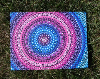 "Aboriginal Inspired Pointilism Dot Mandala Canvas Painting 9""x12"""