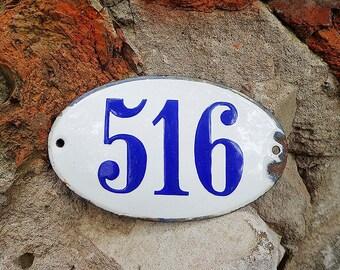 Big room door number 516, enamel soviet vintage apartment number sign