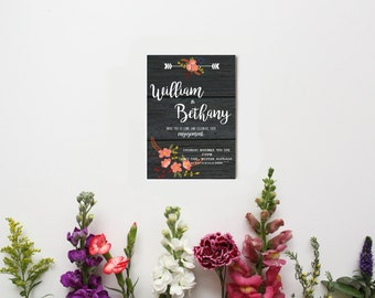 CUSTOM PRINTABLE INVITATION - engagement - floral rustic