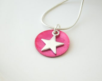 necklace silverstar with pink mother of pearl
