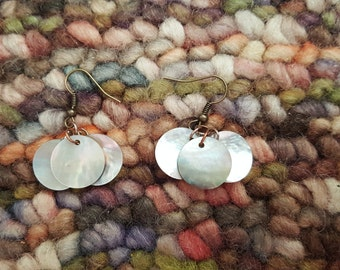 Antique Shell Sequin Trio Dangle Earrings