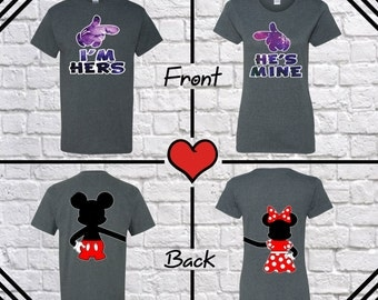 I'm Hers He's Mine Galaxy Color Couple T Shirt Mickey Minnie Tees Front Back Printed T Shirt Couple T Shirt Couple Shirt Couple Tees