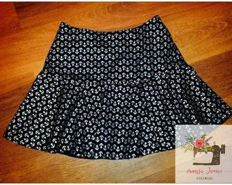 Anchor skirt - nautical skirt , full lined , Handmade