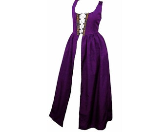 Fd8-Large Purple Medieval Renaissance Clothing halloween witch faire costume skirt bodice pirate peasant wench highlander irish Over-Dress
