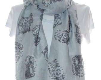 Grey camera Scarf shawl, Beach Wrap, Cowl Scarf,Grey camera print scarf, cotton scarf, gifts for her