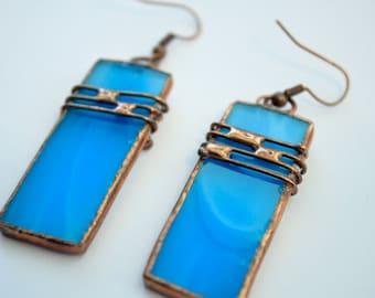 Sea Glass Earrings, Copper Wire jewelry, Blue Glass Earrings, Long Bijouterie, Gift for her, Copper Earrings , Stained Glass Jewels