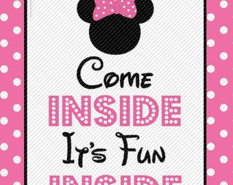 Vibrant image in come inside it's fun inside free printable