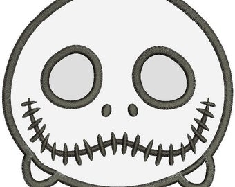 Jack Skellington Nightmare Face Applique Machine Embroidery Design 3 sizes instant download
