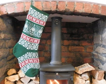 Knitted Fair Isle Stocking Green Christmas Tree Design