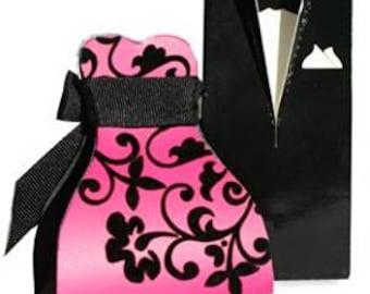 10 Fuschia Pink Flocked Bride Favour Box or Tuxedo Box