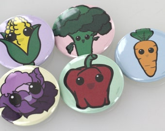 Kawaii Vegetable Button Badge Pack, Carrot Button, Pepper Button, Red Cabbage Button, Broccoli Button, Corn Button, Magnets, Key Chain