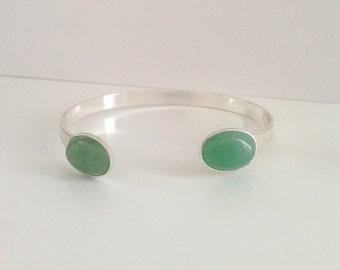 Silver cuff, Aventurine stone silver bracelet, Stone bracelet, Semiprecious bracelet, Gemstone bracelet, Aventurine jewelry, Gift