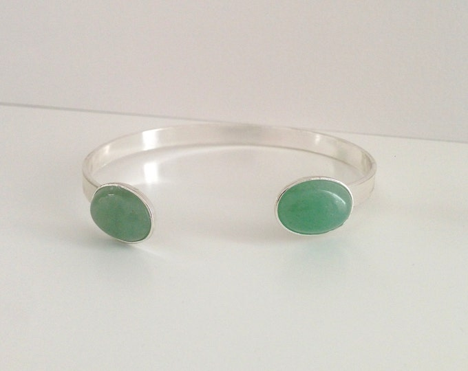 Silver bangle bracelet and Aventurine gemstone