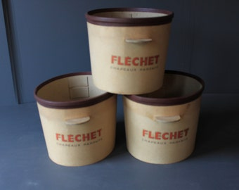Vintage set of 3 French Flechet Hat Boxes