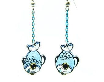 Earrings Silly Animals: fish blue