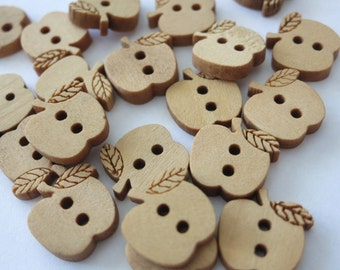 Wooden Apple Buttons 12mm 2 Hole A74