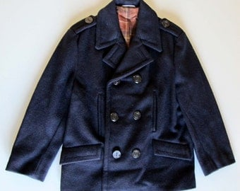 70s vintage navy coat // blue wool marine coat // small sailor woman coat // winter jacket // children coat // anchor buttons squared lining