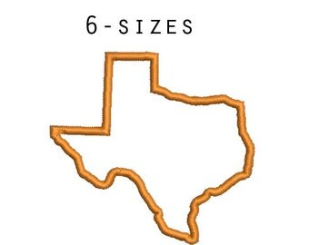 6 sizes - Texas Applique Design, Texas Embroidery Design, Texas State Shape Applique, Instant Download, Embroidery Pattern, Texas Outline