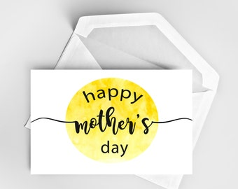 Mother's Day Card, Bright Card, Watercolor Card, Card for Mom, Yellow Card, Custom Cards, The Sunshine One