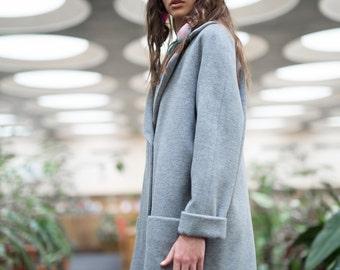 Woman coat, gray coat, wool coat, cropped coat