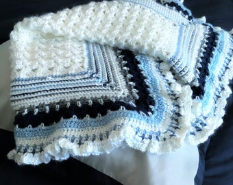 Shades of Blue  Crocheted Baby  Blanket