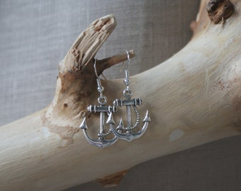 Anchor with Rope - Silver-Plated Fish-Hook Earrings