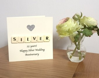 25th Wedding Anniversary Card, Silver Wedding Anniversary, Silver Anniversary Card, Scrabble Greeting Card, Twenty Fifth Anniversary,