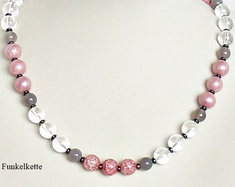 Gemstone necklace gemstone jewellery chain necklace pink grey white gemstone necklace crystal clear rock crystal matching the outfit noble and elegant